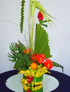 a new spin on a tropical arrangement that could double as a fruit basket!