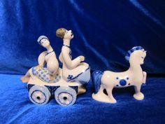 Vintage USSR Porcelain Figurine na telege horse koresten soviet 1960 ukrainian