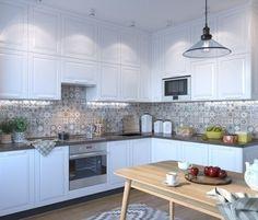 4 варианта оформления квадратной кухни в типовом доме