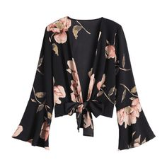 Bowknot Floral Flare Sleeve Blouse (750 DOP) ❤ liked on Polyvore featuring tops, blouses, flower print top, flared sleeve top, floral print blouse, bell sleeve tops and flower print blouse