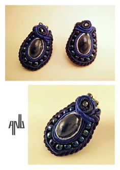 Handmade ANU Jewelry,  Soutache Earrings, lapis lazuli, beads