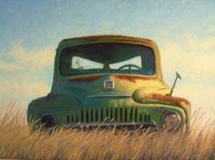 Old Green Pick Up Truck Pastel Painting by Poucher -- Nancy Poucher Art Painting Gallery, Painting & Drawing, Great Paintings, Original Paintings, Original Artwork, Truck Paint, Old Pickup Trucks, Cemetery Art, Painted Boards