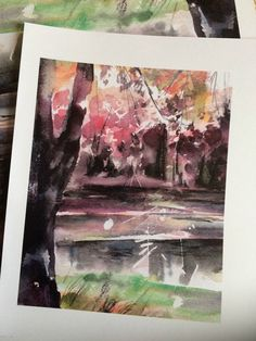 Landscape Watercolor Painting Art Print by Sophie Rodionov.