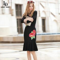 Women's Knee Length Gold thread Embroidery Beading Letter Diamonds Slim Black Dress Tag a friend who would love this! www.storeglum.com... #shop #beauty #Woman's fashion #Products