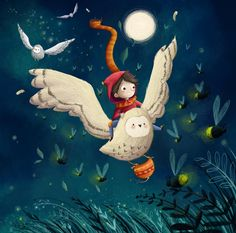 A journey guided by fireflies - illustration by Lucy Fleming Children's Book Illustration, Character Illustration, Digital Illustration, Illustrations And Posters, Whimsical Art, Cute Art, Art For Kids, Character Design, Drawings