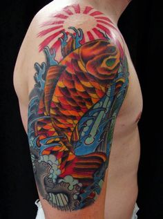 coy fish tattoo done by Nick Minervine from Tattoos Forever in Fort Walton Beach, Florida call (850) 244-5117 for an appointment.   www.facebook.com/tattoosforever1