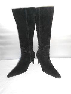 21d8d06d3ac459 Women s Chaps Graciana Black Suede Leather Fashion Knee High Boots Size 8.5  B  fashion
