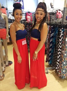 Team members Brooke  Andrean matched this weekend in this gorgeous Charlotte Russe maxi dress! #twinning