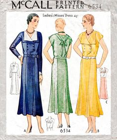 1930s 1931 dress pattern McCall 6534 double breasted tie back vintage sewing pattern reproduction