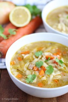 Chicken Lemon Orzo Soup: A modern take on chicken noodle soup, this Chicken Lemon Orzo Soup is full of juicy chicken, heart-healthy vegetables and a delightful lemony broth!