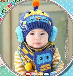 2pcs/Set Winter Baby Hat and Scarf Cute Crochet Knitted Caps for Infant Boys Girls Sombrero Children Kids Scarves Caps