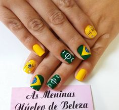 25 Fotos de Unhas para Copa do Mundo com a bandeira do Brasil Nailart, Beauty Nails, Brazil Flag, Nails 2018, Creative Nails, Nice Nails, Designed Nails, Nail Ideas, Perfect Nails