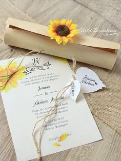 10 Wooden boxed sunflower rustic invitation scrolls, personalized with your own wording. Perfect for summer weddings, sunflower weddings, country western, barn outdoor weddings, rustic weddings or if you just love sunflowers. Unique scroll rustic design, which consists of wooden box, two decorative card leaves attached with twine ribbon and topped with artificial fabric sunflower. Personalized wording and artistic sunflower design are printed on matte recycled paper and wrapped by thin…