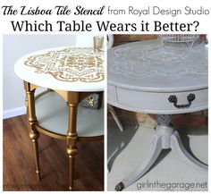 How to DIY distressed table - Painted furniture with Chalk Paint and Royal Design Studio Lisboa Tile Stencil - via Girl in the Garage