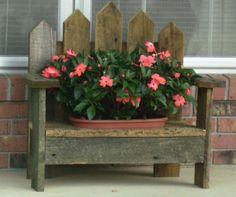 Barnwood Pot Holder Bench