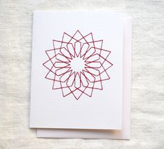 Embroidered Card, Moroccan Geometric Looped Star Design, Red. $5.00, via Etsy.