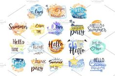 Summer Vacation Promo Signs Colorful Set. Best Objects
