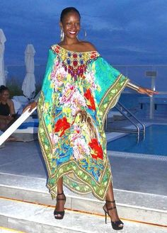 Kaftan with a spiral of flowers. perfume of France - Victoria Luxury Silk Embellished Kaftan Dress Tunic Cardigan Maxi Dress