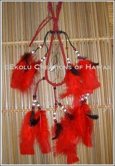 7 inch Tear-Drop Shape Red Hoop Dream Catcher  - $45.00 - Handmade Speciality / Traditional, Crafts and Unique Gifts by Ekolu Creations of Hawaii