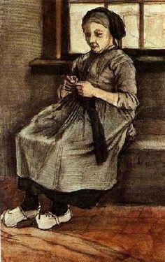 Woman Mending Stockings1881  - van Gogh Vincent