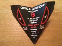 Custom Deadpool Paper Airplane Invitation by RockYourWalls