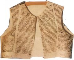 Parchment Books became old fashioned with the invention of the printing press. Old books were recycled into lining of garments as is seen here. Dating 1375-1400.