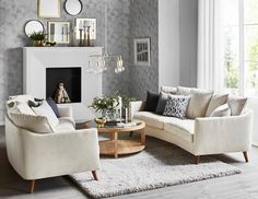 Mirage soffa från Mio. Small Living Rooms, Home Living Room, Living Spaces, Living Room Arrangements, Modern Lounge, White Sofas, Family Room Design, Decoration, House Design