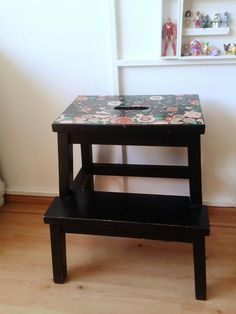Kimm Jeltema shared a pic of her customised BEKVÄM stool. Loving IKEA in our home Decoupage Furniture, Ikea Furniture, Furniture Makeover, Painted Furniture, Ikea Bekvam, Ikea Stool, Painted Stools, Step Stools, Handmade Home