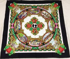 "HERMES ""L'Entente Cordiale"" by Loïc Dubigeon Black Silk Scarf"