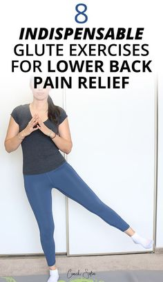 8 Best glute strengthening exercises for lower back pain and hip pain relief. These exercises will strengthen your main gluteal muscles to stabilize and. Hip Pain Relief, Lower Back Pain Relief, Low Back Pain, Glute Strengthening, Glute Exercises, Stability Exercises, Exercise Moves, Daily Exercise, Exercise Ball