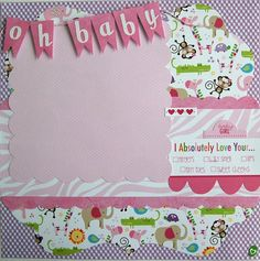 baby girl premade single 12x12 scrapbook page by by urbansavanna, $8.75