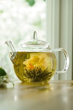 An interesting little number, blooming teas (more commonly known as flowering teas) are tea leaves bundled into a sphere around a flower. When submerged into the boiled water, these spheres open up, allowing the flower to bloom, and flavouring the tea.