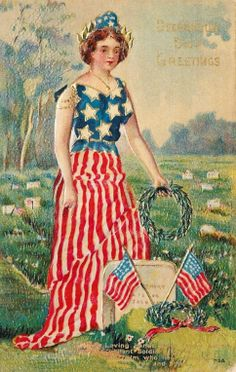Decoration Day Greetings ~ Vintage Memorial Day postcard, ca. 1900s.