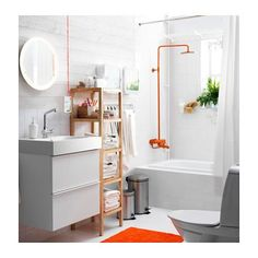 STORJORM Mirror with integrated lighting  - IKEA. Love the color coated plumbing fixtures