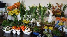 mesas de Páscoa, amarelo e laranja, coelhos, cenouras | Anfitriã como receber em casa, receber, decoração, festas, decoração de sala, mesas decoradas, enxoval, nosso filhos