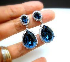 wedding jewelry bridal jewelry wedding earrings bridal earrings Clear white teardrop AAA cubic zirconia and blue crystal on oval cz post