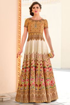 DELECTABLE FANCY DIGITAL PRINTED BORDER WORK GOWN