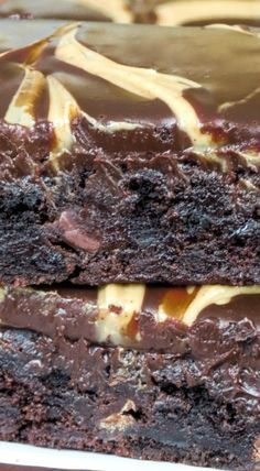 Peanut Butter Swirl Ganache Brownies Recipe ~ extremely moist and fudge!