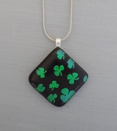 Irish Pendant Fused Glass Necklace Dichroic Pendant by GlassCat