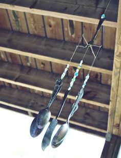 ReFab Diaries: Upcycle: Silverware becomes silver WEAR!    --Silverwear wind chimes - like the idea of the beads above the silverwear