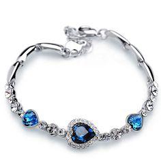 Shining Romantic Love Heart Crystal Bracelet