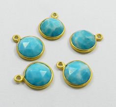 Wholesale Lots,5 Pcs Synthetic Larimar gem 925 silver single loop new connectors #Handmade