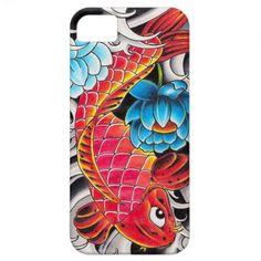 Cool oriental japanee Red Koi Carp fish Blue Lotus iPhone 5 Covers