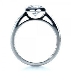 Striking profile! Custom Bezel Set Diamond Engagement Ring - 1265 | Joseph Jewelry Seattle Bellevue