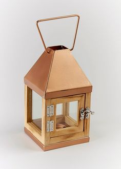 Copper Top Mini Lantern x - Matalan Matalan, Lanterns, Decorative Boxes, New Homes, Copper, Table Lamp, Lights, Mini, Glass