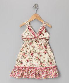 Stone Floral Ruffle V-Neck Dress - Toddler & Girls by Lele Vintage #zulily #zulilyfinds