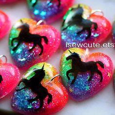 Unicorn Necklace, Rainbow Unicorn Jewelry, Rainbow Heart Sparkly Modern Glitter Pendant, Rainbow Bright Colorful Glitter Clouds by isewcute Neon Rainbow, Rainbow Heart, Rainbow Unicorn, Neon Jewelry, Kawaii Jewelry, Heart Jewelry, Jewelry Necklaces, Jewellery, Unicorn Jewelry