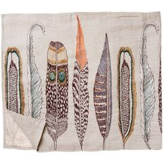 Coral and Tusk - large feathers table runner