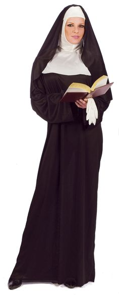 Mother Superior Nun Habit Costume - Wear this Nun costume for a pageant or for Halloween.  This is a traditional habit deluxe nun costume.  The Nun costume is a plain long black tunic with long sleeves. There is a white wimple that covers the head and neck and a black veil with a band that goes across the forehead. Also included is a pair of white gloves. #yyc #calgary #costume #nun #mothersuperior