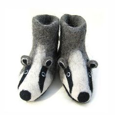 These gorgeous hand felted badger slippers are made from super soft Merino wool with fine needle felted detail. Cross stitched, soft suede anti-slip soles finish the slippers. Presented in an organic, cotton Sew Heart Felt draw-string pouch. Wet Felting, Needle Felting, Felt Shoes, Felted Slippers, Childrens Gifts, Felt Hearts, Handmade Felt, Felt Animals, Soft Suede